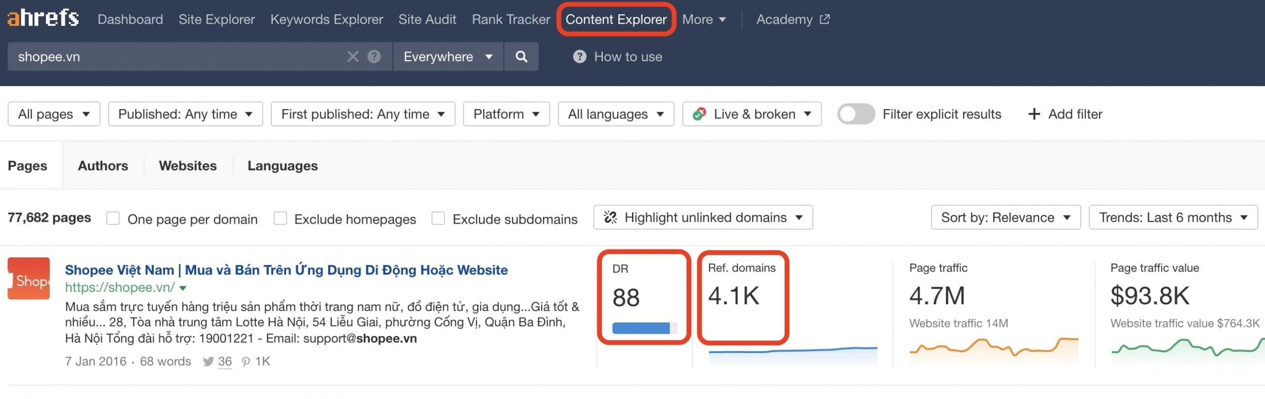 Ahrefs Content Explorer hỗ trợ làm nội dung