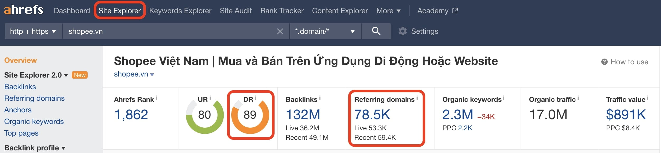 Site Explorer cũng hỗ trợ làm nội dung